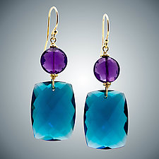 London Blue Quartz and Amethyst Earrings by Judy Bliss (Gold & Stone Earrings)