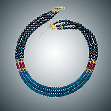 Apatite, Ruby and Pearl Necklace by Judy Bliss (Gold & Stone Necklace)