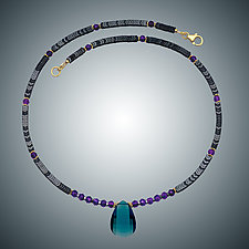 London Blue Quartz, Hematite and Amethyst Necklace by Judy Bliss (Gold & Stone Necklace)