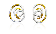 Linear Spiral Swirl Earrings by Shana Kroiz (Gold, Silver & Bronze Earrings)