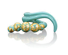 Cross Finger Teal Beaded Swoop Ring by Shana Kroiz (Bronze Ring)