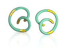 Linear Spiral Swirl Earrings by Shana Kroiz (Gold, Silver & Bronze Earrings)