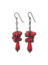 Red Teardrop Firecracker Earrings by Valerie Hector (Art Glass & Silver Earrings)