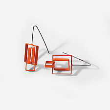 Three Squares Earrings by Donna D'Aquino (Metal Earrings)