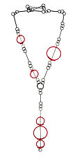 Red Circles Necklace by Donna D'Aquino (Metal Necklace)
