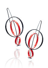 Movable Three Circles Earrings by Donna D'Aquino (Brass Earrings)