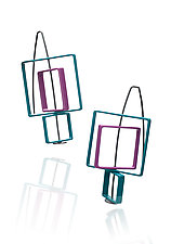 Movable Three Squares Earrings by Donna D'Aquino (Brass Earrings)
