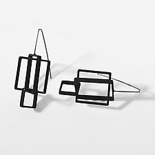 Three Squares Earrings by Donna D'Aquino (Metal Earrings)