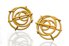 Structural Circle Stud Earrings by Donna D'Aquino (Silver & Brass Earrings)