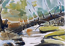 Fallen Tree Across Stratton Creek by Alix Travis (Watercolor Painting)