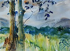 Two Trees Before Mountains by Alix Travis (Watercolor Painting)