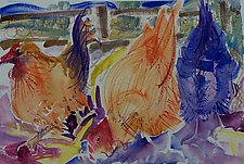 Three Chickens by Alix Travis (Watercolor Painting)