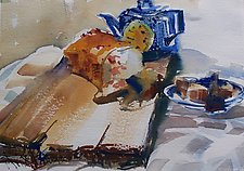 Cranberry Bread with Tea by Alix Travis (Watercolor Painting)