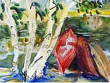 Kayaks and Birch Trees with Reflection by Alix Travis (Watercolor Painting)