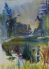 East Branch Delaware River with Bridge by Alix Travis (Watercolor Painting)