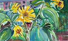 Sunflowers Before Ella's Mercantile by Alix Travis (Watercolor Painting)