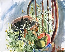 Rik's Plant with Pear and Grapefruit by Alix Travis (Watercolor Painting)