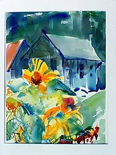 Sunflowers before Station by Alix Travis (Watercolor Painting)