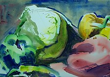 Cabbage with Three Peppers by Alix Travis (Watercolor Painting)