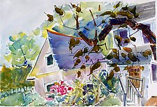 Sarah's Shed with Apple Tree by Alix Travis (Watercolor Painting)