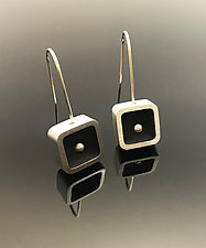 Small Square Pearl Earrings by Melissa Stiles (Aluminum & Resin Earrings)