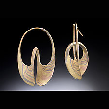 Continuum Hoop Earring - Yellow, White, & Red Gold by Stephen LeBlanc (Gold Earrings)