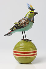 Paradise Tanager on Vintage Ball by Tori and Jim Mullan (Wood Sculpture)