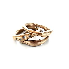 Bronze Stacking Rings with Black Diamonds by Ann Chikahisa (Diamond Ring)