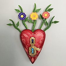 Wildflower Heart by Elizabeth Frank (Wood Wall Sculpture)
