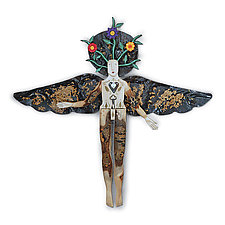 Wildflower Angel by Elizabeth Frank (Wood Wall Sculpture)