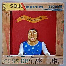 Mr. Wonderful-Shadowbox Series by Elizabeth Frank (Wood Wall Sculpture)