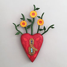 Sunflower Heart by Elizabeth Frank (Wood Wall Sculpture)