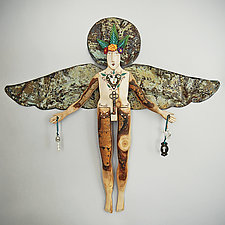 Lost and Found Angel by Elizabeth Frank (Wood Wall Sculpture)