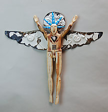Cloud Angel by Elizabeth Frank (Wood Wall Sculpture)