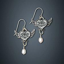 Flying Eye Earrings by Dawn Estrin (Silver & Pearl Earrings)