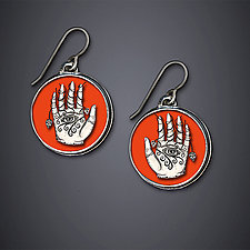 Eye Hand Heart Earrings by Dawn Estrin (Silver Earrings)