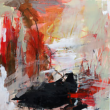 Red Abstraction 1 by Debora  Stewart (Acrylic Painting)