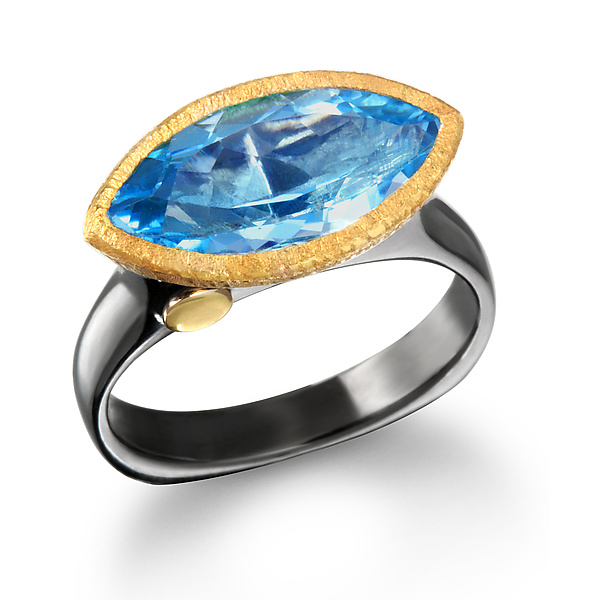 East West Blue Topaz Marquise Ring