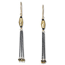 Spinel and Gold Tassel Earrings by Suzanne Q Evon (Gold & Stone Earrings)