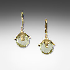 Lemon Quartz Large Jester Cap Earrings by Suzanne Q Evon (Silver & Stone Earrings)