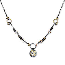 Black and Gold Keum-Boo Diamond Disk Necklace by Suzanne Q Evon (Gold, Silver & Stone Necklace)