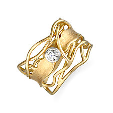Gold & White Diamond Edge Ring by Suzanne Q Evon (Gold & Stone Ring)