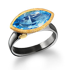 East West Blue Topaz Marquise Ring by Suzanne Q Evon (Gold, Silver & Stone Ring)