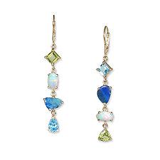 Multi-Opal Asymmetrical Earrings by Suzanne Q Evon (Gold & Stone Earrings)