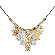 Nine Tab Necklace with White Sapphire by Suzanne Q Evon (Gold & Stone Necklace)