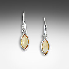 Citrine Wavy Post Earrings by Suzanne Q Evon (Gold & Stone Earrings)