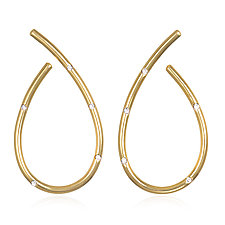 Gold J Earrings with White Diamonds by Suzanne Q Evon (Gold & Stone Earrings)