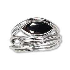 Silver and Black Spinel East West Ring by Suzanne Q Evon (Silver & Stone Ring)