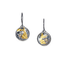 Black & Gold Keum-Boo Diamond Disk Earrings by Suzanne Q Evon (Gold, Silver & Stone Earrings)