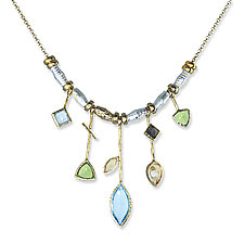 Five Stick Blue Topaz Edge Necklace by Suzanne Q Evon (Gold, Silver & Stone Necklace)